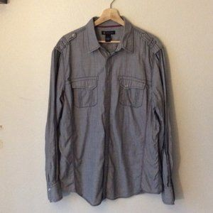 INC Blue Long Sleeved Button Up